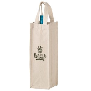 CVINE1-Screen Print Heavyweight Cotton 1 Bottle Wine Tote Bag